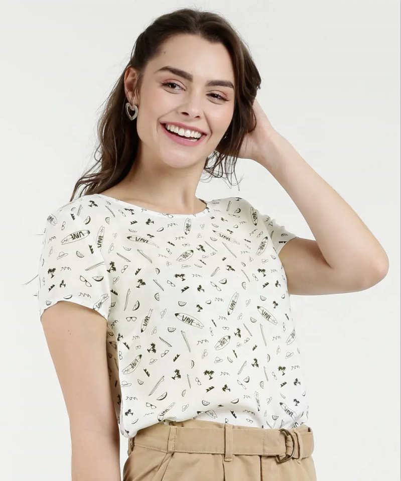 Round Neck Printed Women Blouse