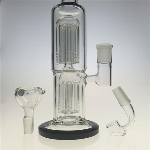 Two Function Double Tree Perc Glass Pipes for Smoking (ES-GB-394)