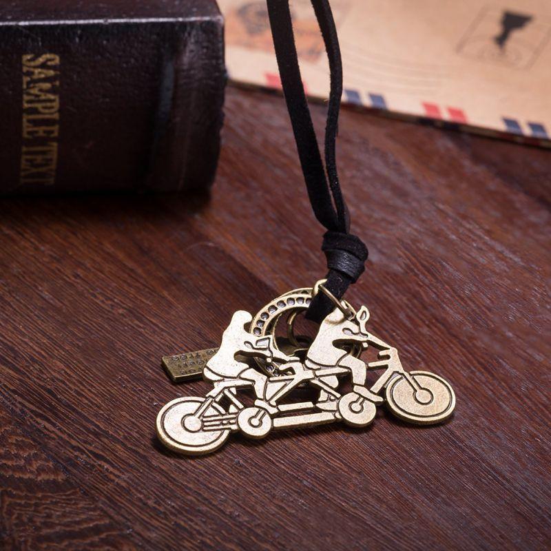 Bike Shape Pendant Women Leather Vintage Necklace