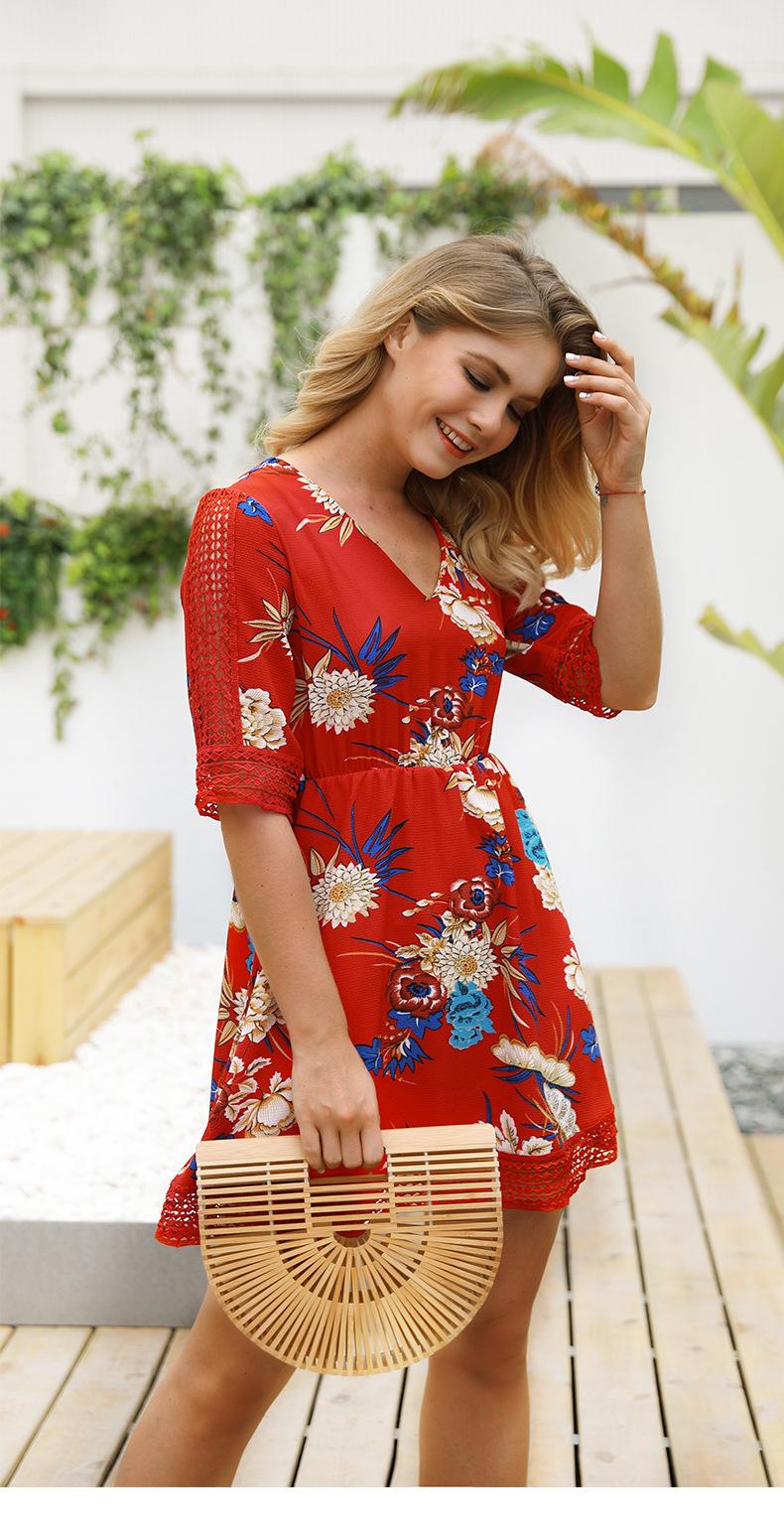 Floral Printed V-neck Chiffon Dress