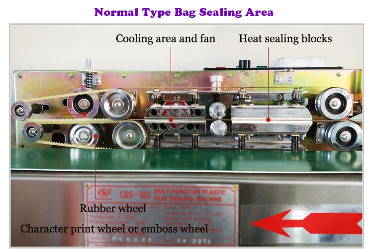 CBS Horizontal Continuous Automatic Conveyor Sealer for Food Candy Bag Film Sealing with Adjustable Belt Platform