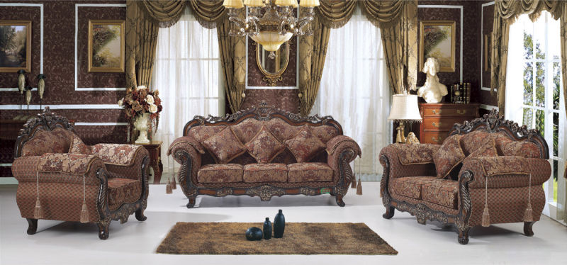 Fabric Sofa Set with Wooden Sofa Frame (929A)
