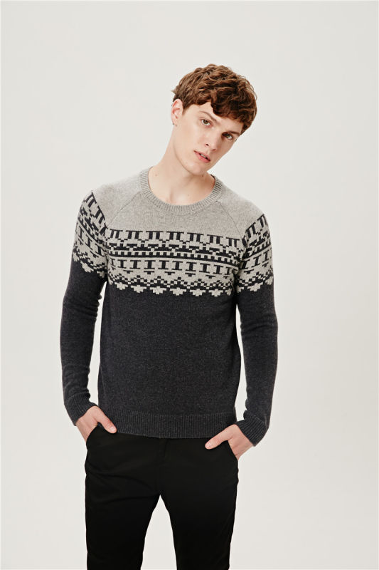50%Lambs Wool50%Nylon Jacquard Pullover Knit Sweater for Men