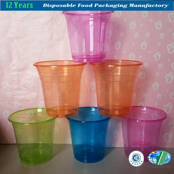 Plastic Clear Cup with Flat Lids for Bubble/Boba Tea, Milkshakes & Frozen Cocktails