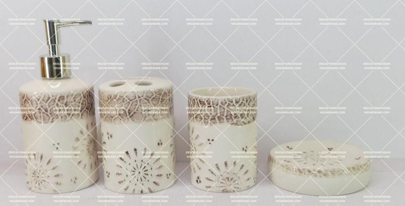 Ceramic Bathroom 4 Pieces Set with Hand Painted Decorative