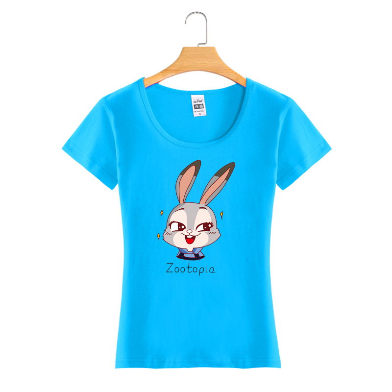 Custom Cartoon Printing Round Neck Cotton Fashion Women T Shirt