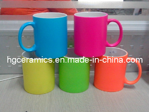 Fluorescent Ceramic Mug, Neon Color Mug, Neon Mug