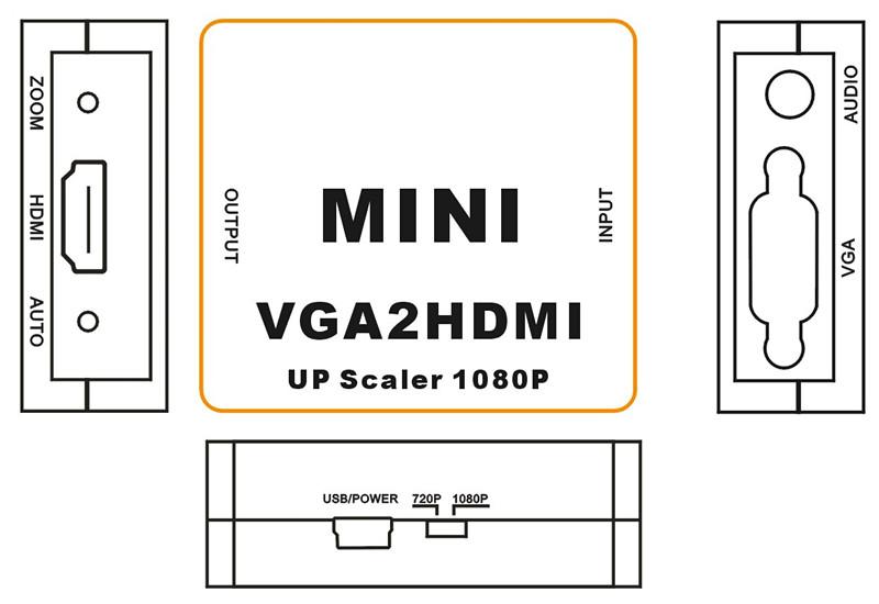 VGA to HDMI Scaler Converter Upscaler 720p/1080P