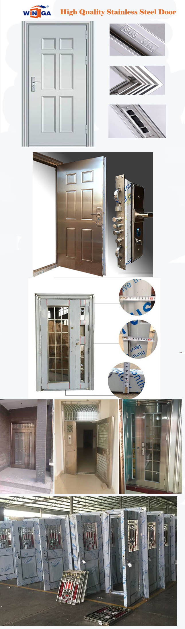 South Africa Stainless Steel Security Metal Glass Door (W-GH-24)