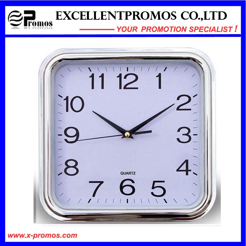 Gold Frame Logo Printing Square Plastic Wall Clock (Item27)