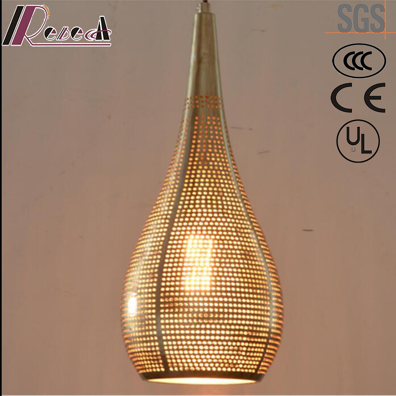 Simple Metal Golden Hollow Pendant Light with Dining Room
