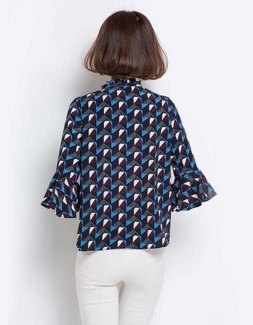 Spring Geometrical Pattern Top with Ruffle Sleeves Ladies Top