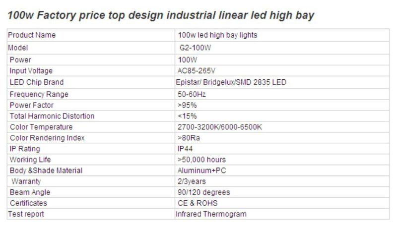 Factory Price Top Design Industrial Linear 100W LED High Bay