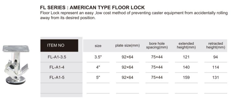 American Type Floor Lock for Hand Trolley Casters