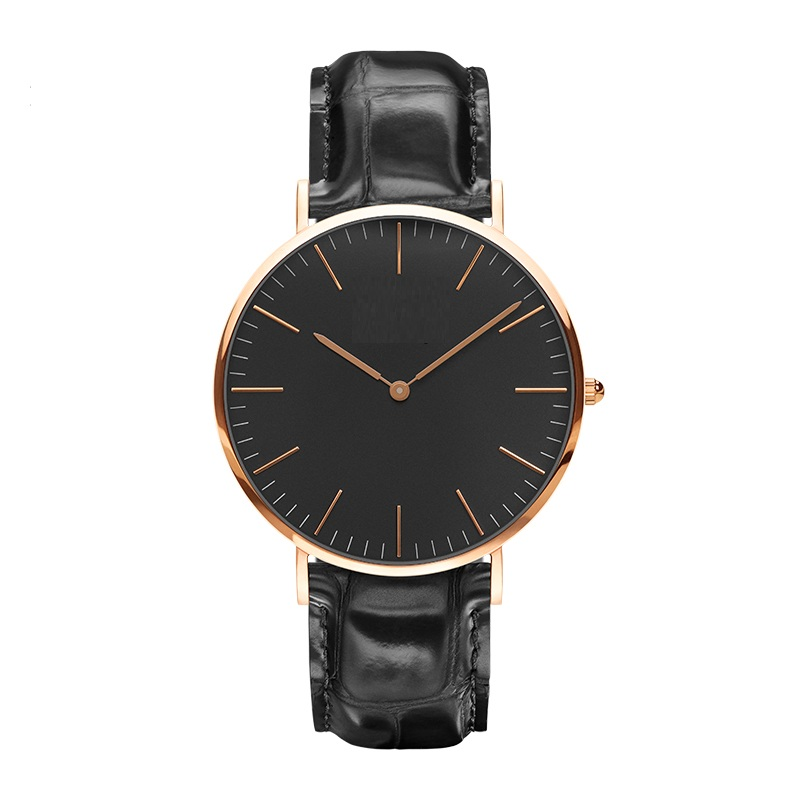 Stainless Steel Classical Nato Band Leather Strap Watch