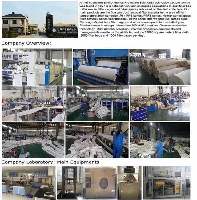 Dust Collector Nonwoven Fiberglass Filter Bag for Asphalt Plant