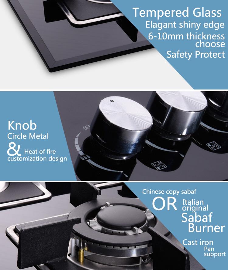 Hot New 5 Burner Glass Top Built-in Gas Hob with Wok Burner