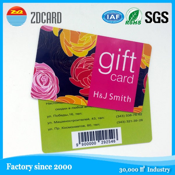 Contactless Plastic PVC Printed Gift Smart IC Card