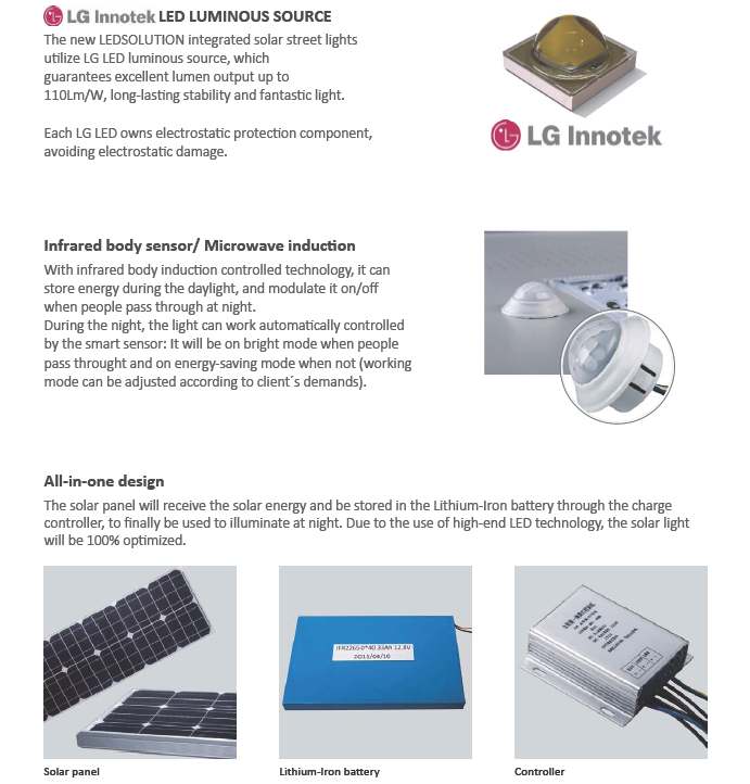 50W All in One Integrated LED Solar Street Light