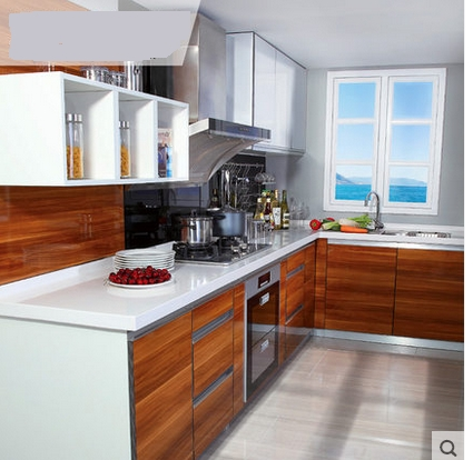 Wooden Kitchen Cabinet Waterproof (MOQ=1 set)