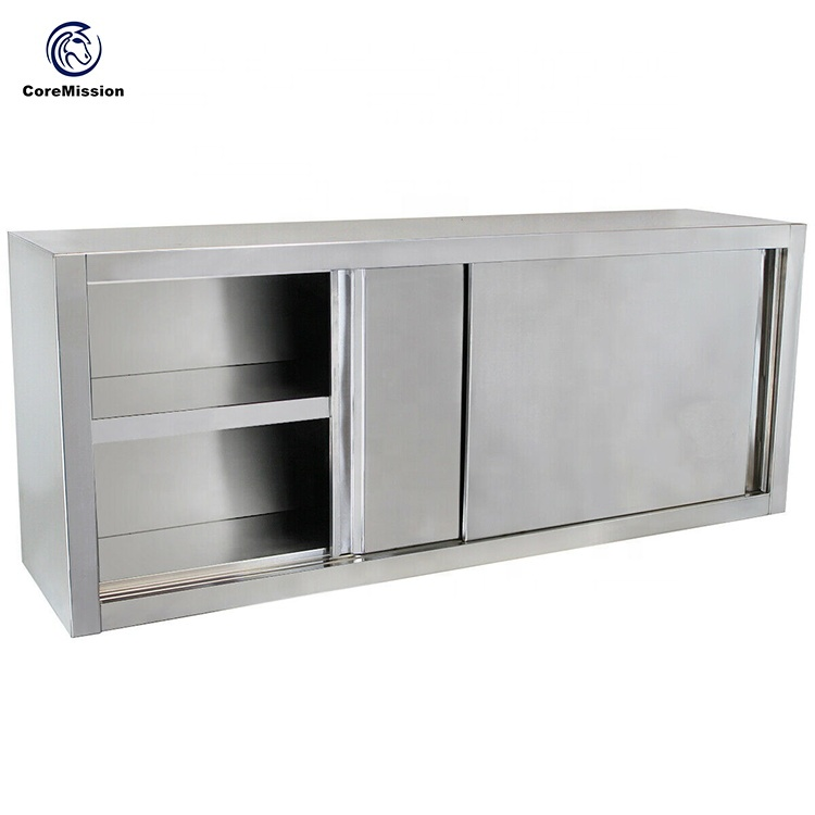 Wall Hanging Sliding Door Commercial Stainless Steel Cabinet
