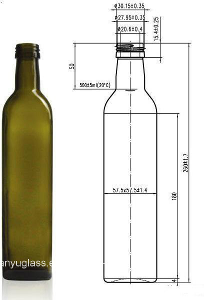 250ml 500ml 1000ml Square Olive Oil Glass Bottles with Cap