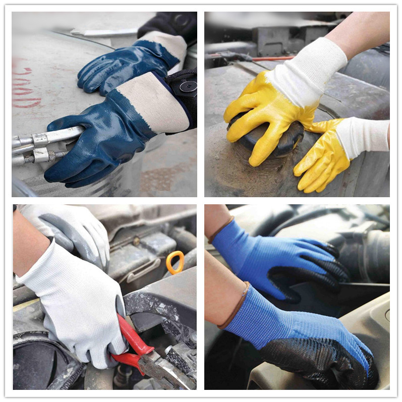 Work Glove Polyester Liner Glove with Grey Nitrile Palm Coated, Smooth Finishing