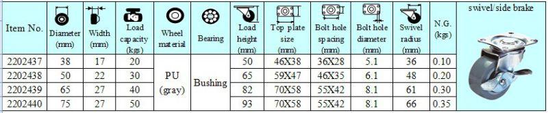 3 Inch Light Duty Swivel PU with Side Brake Caster