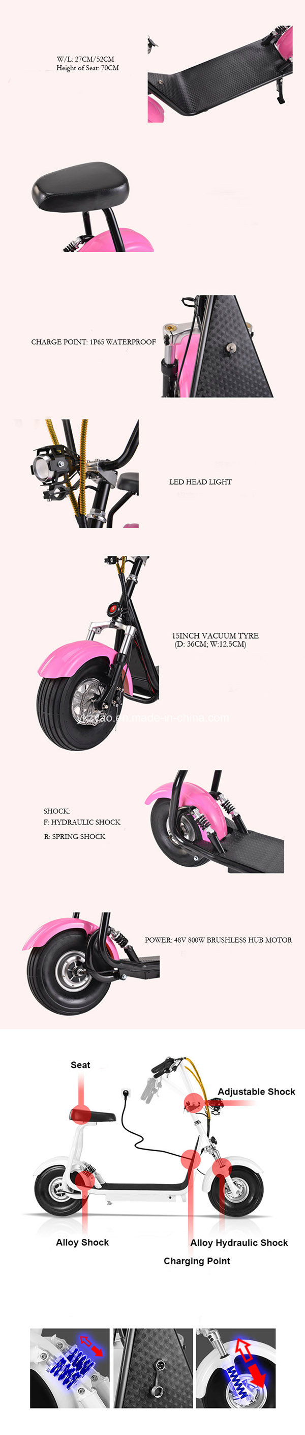 City Mobility Citycoco 800W Brushless Adult Mini Electric Scooter 2 Wheels Electric Motorcycle