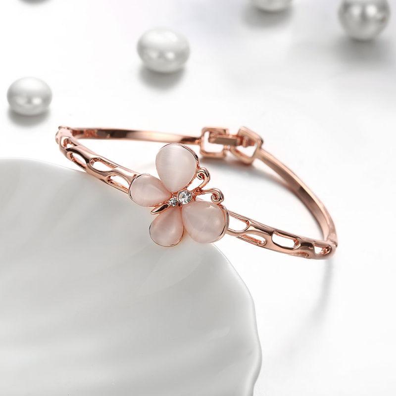Butterly Diamond Gold Bangle Women Gold Jewelry
