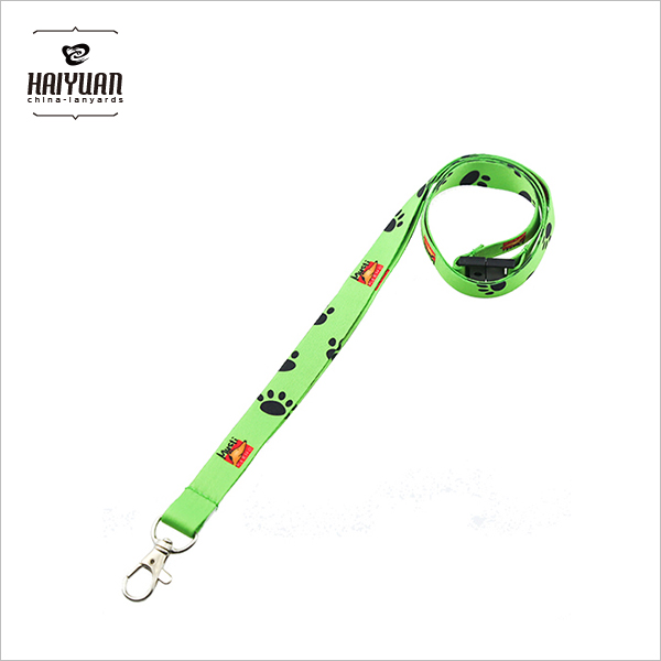 Cute Custom Green Flat Polyester Printed Lanyard with Heat Transfer Logo Safety Release