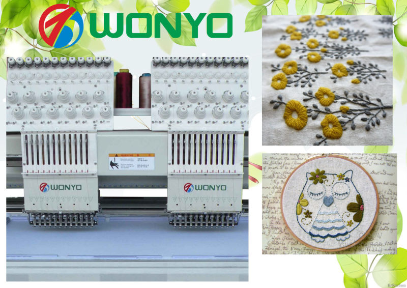 Double Head High Speed Good Design Computer Embroidery Machine 9 and 12 Colors