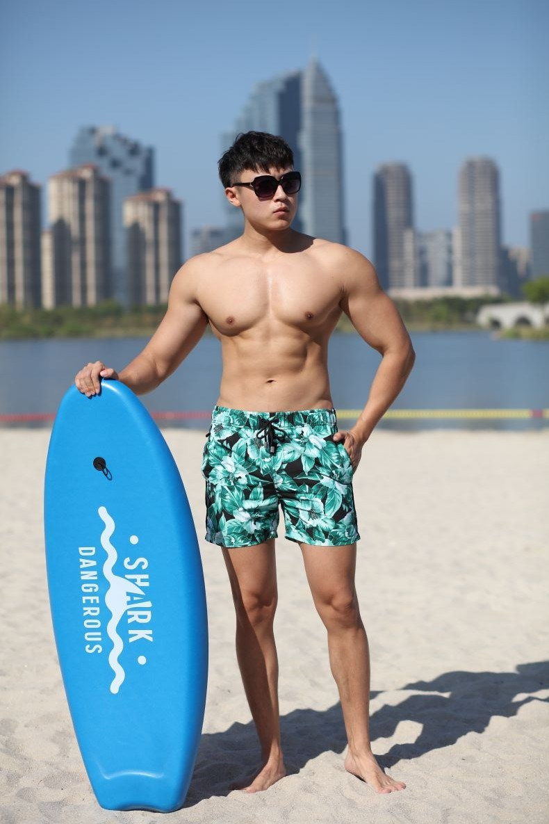 140GSM 100% Polyester Digital Print Quick Dry Full Elastic Waist Brief Lining Water Repellent Man's Swimshort