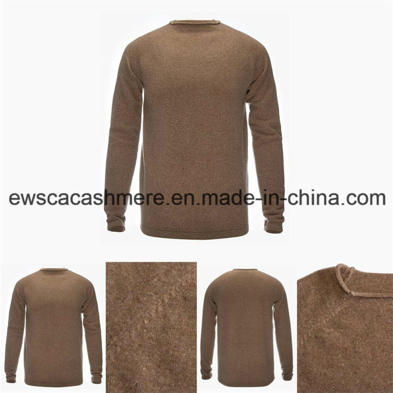 Men's Round Neck Solid Color Top Grade Pure Cashmere Sweater with Stitch Knit