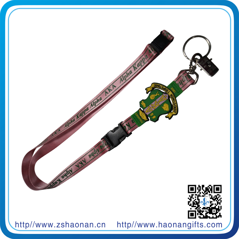 Sublimation Printing Keychain Lanyard with PVC Crest, Bulldop Clip and Split Ring