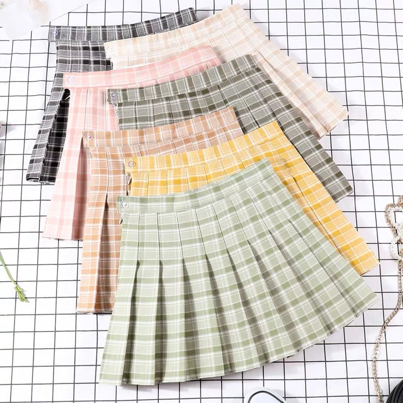 Competitive Price pleated plaid skirt