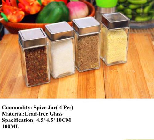 Lead -Free Jar Set Spice Glass Jar with Seal Lid