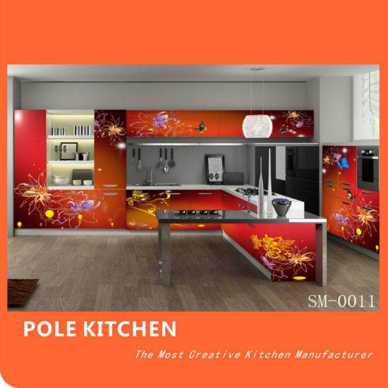 2016 New Arrival Modern Kitchen Cabinet (Red color)