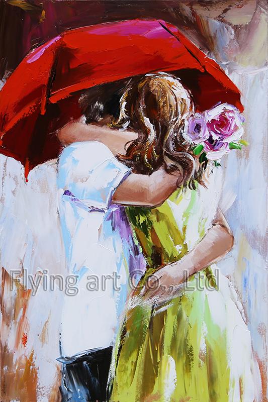 Modern Oil Painting for Lover Under Umbrella