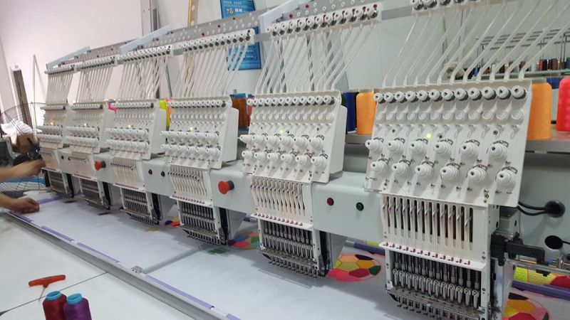 High Speed 6 Head 9 or 12 Color Cap Embroidery Machine for Flat T-Shirt Finished Garments 3D Embroidery (WY906C/WY1206C)