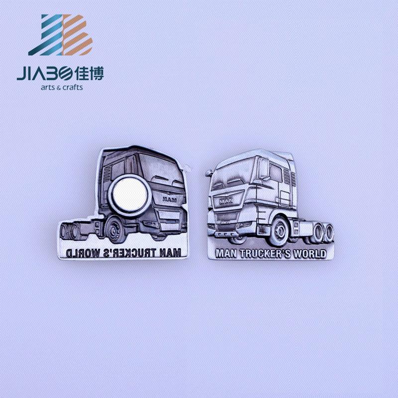 Cheap Custom Tractor Shape Iron Magnet Pin Badge