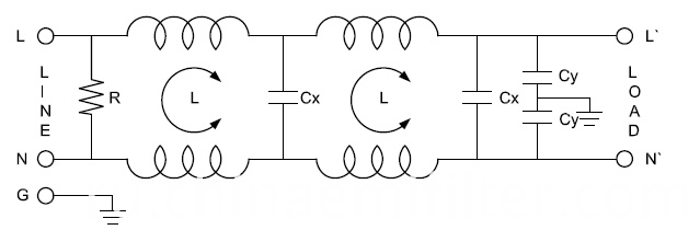 Low Pass Single Phase EMI Noise Power Filter
