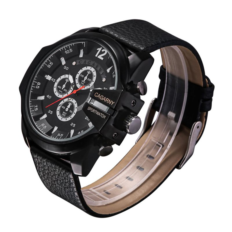 6839blk Big Dial Sports Watch 3eyes Pushers, Multi-Functionquartz Watch