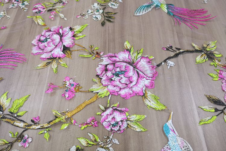 Printed Birds Flowers Embroidery Tulle Lace Fabrics