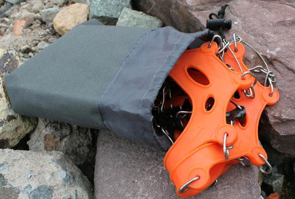 Orange Portable 6-Teeth Camping Climb Walking Ice Crampon