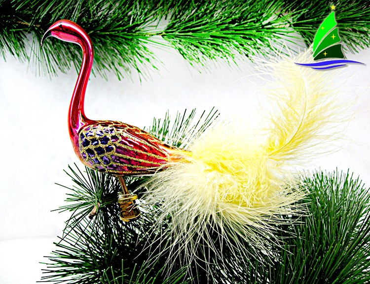 pink glass flamingo ornament
