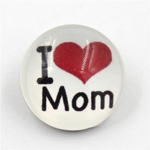 18mm Custom 'i Love Mom' Button Resin Snap Button for Brecelet