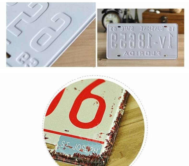 5cm* 10cm 1 Color Printed Custom Embossed Small Reflective Car Plates