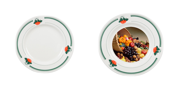 8'' Rim Plate with Design of Green Strawberry by Mejorsub
