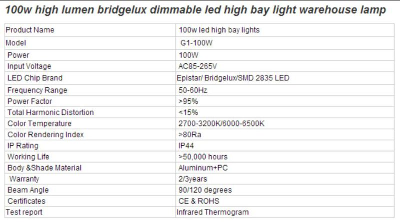 100W High Lumen Bridgelux Dimmable LED High Bay Light Warehouse Lamp